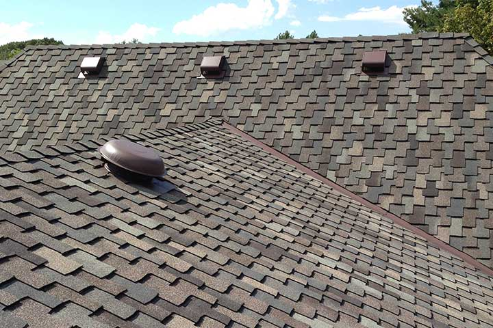 full asphalt roof with vents