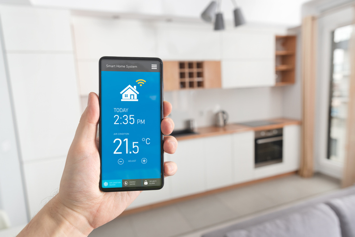 Smart home system on phone app. Temperature, energy efficiency, security control.