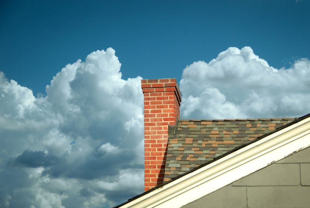 clouds over roof